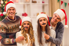 De vrolijke viering van Kerstmis Royalty-vrije Stock Afbeeldingen
