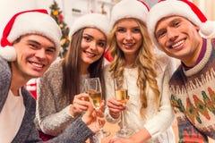 De vrolijke viering van Kerstmis Stock Foto's