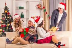 De vrolijke viering van Kerstmis Stock Afbeeldingen