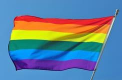 De vrolijke Vlag van de Regenboog van de Trots stock foto's