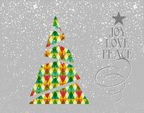 De vrolijke vorm van de Kerstmis kleurrijke boom. Stock Foto