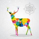 De vrolijke vorm van het Kerstmis kleurrijke rendier. royalty-vrije illustratie