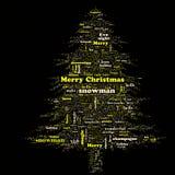 De vrolijke wolk van het Kerstmiswoord in boomvorm stock foto's