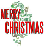 De vrolijke Wolk van Word van Kerstmis Stock Afbeelding