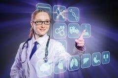 De vrouw artsen dringende knopen met diverse medische pictogrammen Royalty-vrije Stock Afbeelding