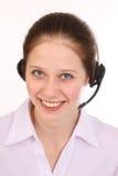 De vrouw beantwoordt de telefoon Royalty-vrije Stock Foto