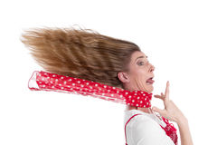 De vrouw beklemtoonde in paniek Stock Foto