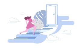 De vrouw beklimt de ladder van succes De strijd voor gelijkheid, voor vrijheid Vlakke stijl Vector stock illustratie