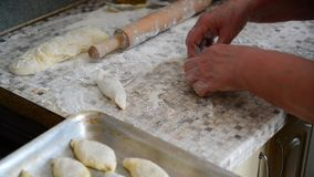 De vrouw bereidt pastei met vlees voor stock videobeelden