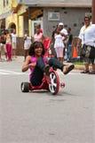 De vrouw berijdt de Grote Straat Met drie wielen van Wiel Benedenatlanta Royalty-vrije Stock Foto