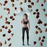De vrouw beschermt zich tegen ongezonde calorieën vector illustratie