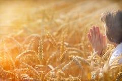 De vrouw bidt voor een rijke oogst stock afbeeldingen