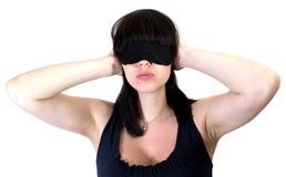 De vrouw blind en oren stock fotografie