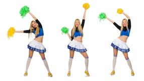 De vrouw cheerleader op het wit wordt geïsoleerd dat stock fotografie