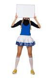 De vrouw cheerleader op het wit wordt geïsoleerd dat Royalty-vrije Stock Foto