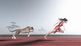De vrouw concurreert met een jachtluipaard Stock Afbeelding