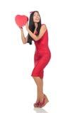 De vrouw in de valentijnskaartconcept van heilige op wit Stock Afbeelding