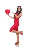 De vrouw in de valentijnskaartconcept van heilige op wit Royalty-vrije Stock Afbeelding