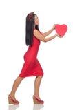 De vrouw in de valentijnskaartconcept van heilige op wit Royalty-vrije Stock Foto