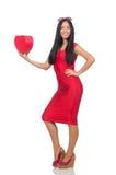 De vrouw in de valentijnskaartconcept van heilige op wit Royalty-vrije Stock Fotografie