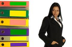 De vrouw denkt over het werk Stock Foto