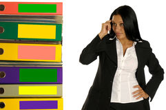 De vrouw denkt over het werk Stock Foto's