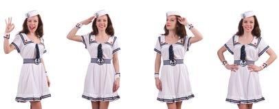 De vrouw die die zeemanskostuum dragen op wit wordt geïsoleerd Stock Fotografie
