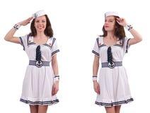 De vrouw die die zeemanskostuum dragen op wit wordt geïsoleerd Stock Foto's