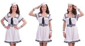 De vrouw die die zeemanskostuum dragen op wit wordt geïsoleerd Stock Foto