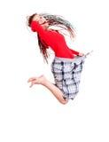 De vrouw die gewicht verloor springt met vreugde Royalty-vrije Stock Afbeelding
