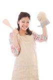 De vrouw die kookt Stock Foto's