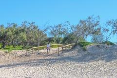 De vrouw die omhoog weg van Australisch strand met highrise lopen die door de bomen en Beware van Slangen tonen ondertekent royalty-vrije stock foto