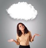 De vrouw die van Attractie de abstracte ruimte van het wolkenexemplaar kijkt stock fotografie