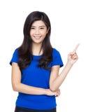 De vrouw die van Azië met haar vinger benadrukken Royalty-vrije Stock Foto