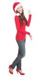 De vrouw die van de kerstman exemplaarruimte voorstelt Stock Afbeelding