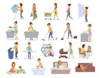 De vrouw doet dagelijkse huiskarweien, huishouden, househod nemen de activiteiten als was het vacuüm het schoonmaken het winkelen royalty-vrije illustratie