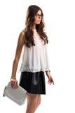 De vrouw draagt blouse met tussenvoegsel royalty-vrije stock foto