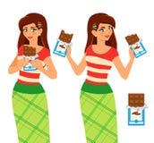 De vrouw eet chocolade Stock Foto's