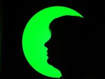 De vrouw en de maan Stock Foto's