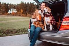 De vrouw en de hond met sjaals zitten samen in autoboomstam op de herfst Stock Afbeeldingen