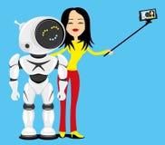 De vrouw en de robot maken een foto vector illustratie