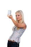 De vrouw fotografeerde zich Stock Afbeeldingen