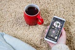 De vrouw gebruikt de toepassing op mobiel om voedsel tot levering opdracht te geven Online levering royalty-vrije stock afbeelding