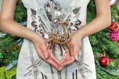 De vrouw is gekleed in een slimme kleding houdend een hert Vrouwelijke handen royalty-vrije stock foto's