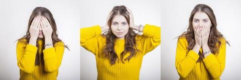 De vrouw in gele sweater toont gebaren om blinde doof en stom te zijn royalty-vrije stock afbeelding