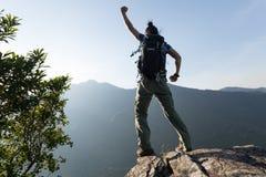 De vrouw geniet van de mening over klippenrand Royalty-vrije Stock Afbeelding