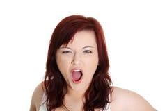 De vrouw gilt uit luid Stock Foto's