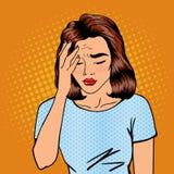De vrouw heeft een hoofdpijn Vrouwenspanning Uitgeputte vrouw Pop-art vector illustratie