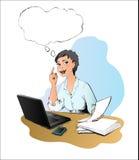De vrouw heeft idee in het bureau Stock Afbeelding