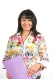 De vrouw in het bureau van de lijst royalty-vrije stock foto's
